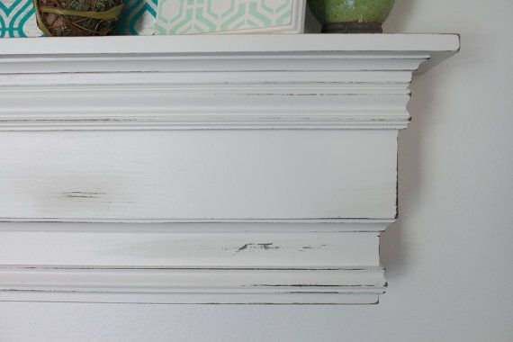 Extra Large Wood Wall Shelf Mantle White Rustic Pottery Barn