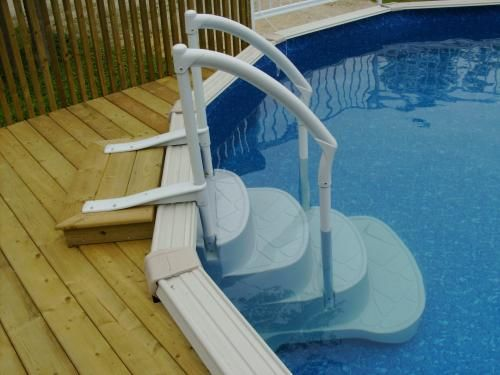 Above Ground Pool Steps Beats Having To Lift Him Out Above Ground Pool Stairs Swimming Pool Decks In Ground Pools