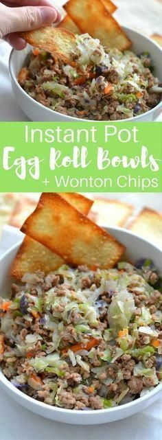Instant Pot Egg Roll Bowls (+ Wonton Chips)