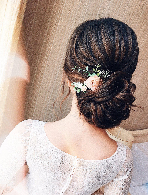 flower hair pins, peach hair pins, ivory hair pins