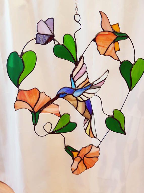 Stained Gl Suncatcher Hanger Of Bird Hummingbird Tiffany Window