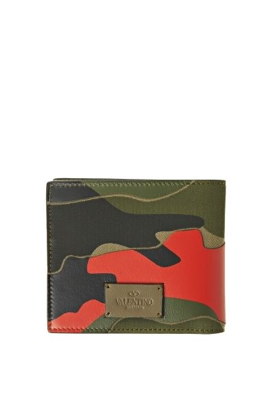Camouflage print leather wallet from Valentino