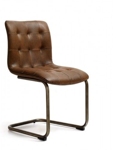 Metal Brown Faux Leather Dining Chair On Back