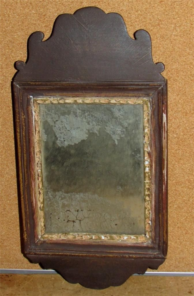 Very Rare 18th C American Queen Anne Miniature Mirror In Great Old