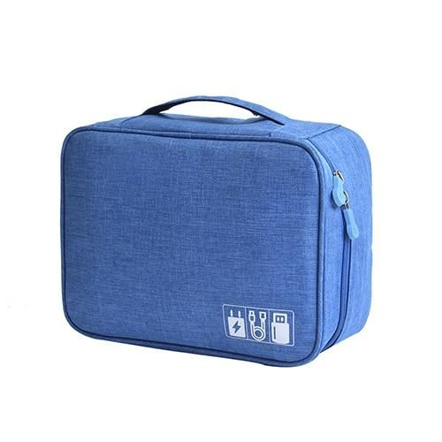 Portable Digital USB Gadget Travel Organizer - SlateBlue