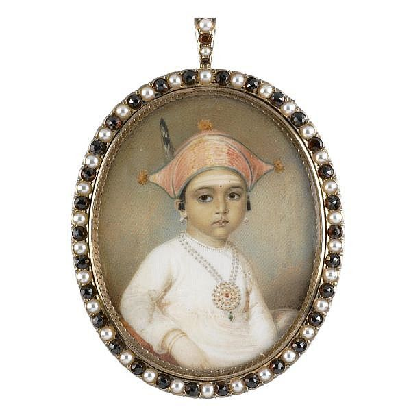 seated, wearing a muslin jama , with a jewelled necklace, pearl earrings and a rose-coloured three-cornered plumed hat edged with green, silver-gilt frame set with cultured pearls and garnets inscribed verso: The Coorga Rajah's / daughter Mooda / Majee. / 1807