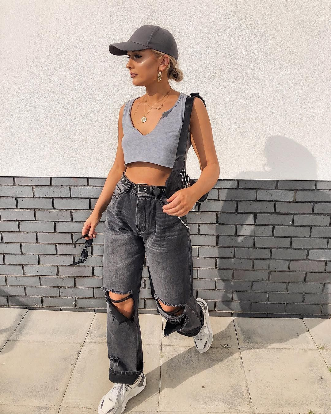 "Amy Shaw on Instagram: ""AD / Spring summer meets tomboy – wearing all @prettylittlething 90s style top & so much love for these baggy jeans, I got them in the blue…"" – Fashion"