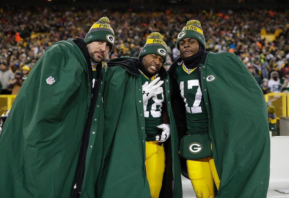 The Three Amigos Aaron Rodgers Randall Cobb And Avante Adams Green Bay Packers Clothing Green Bay Packers Football Packers Clothing