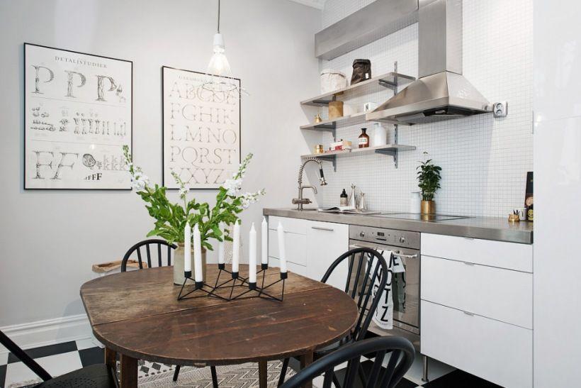 Zdjecie Biala Kuchnia Z Betonowym Blatem Czarne Krzesla Skandynawskie Ow Small Apartment Interior Kitchen Interior Design Modern Apartment Interior Decorating