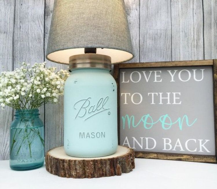 Mason Jar Side Table Lamp So Cute With Images Mason Jar Lighting Mason Jar Lamp Gallon Mason Jars