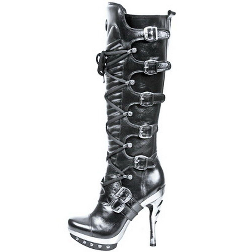 10cm Stiletto Heel Boots Stiefel High Schwarz Damen Leder 54jLAR
