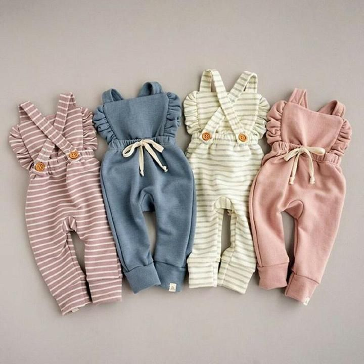 Photo of Baby Girl Backless Striped Ruffle Romper Overalls Jumpsuit    bishop