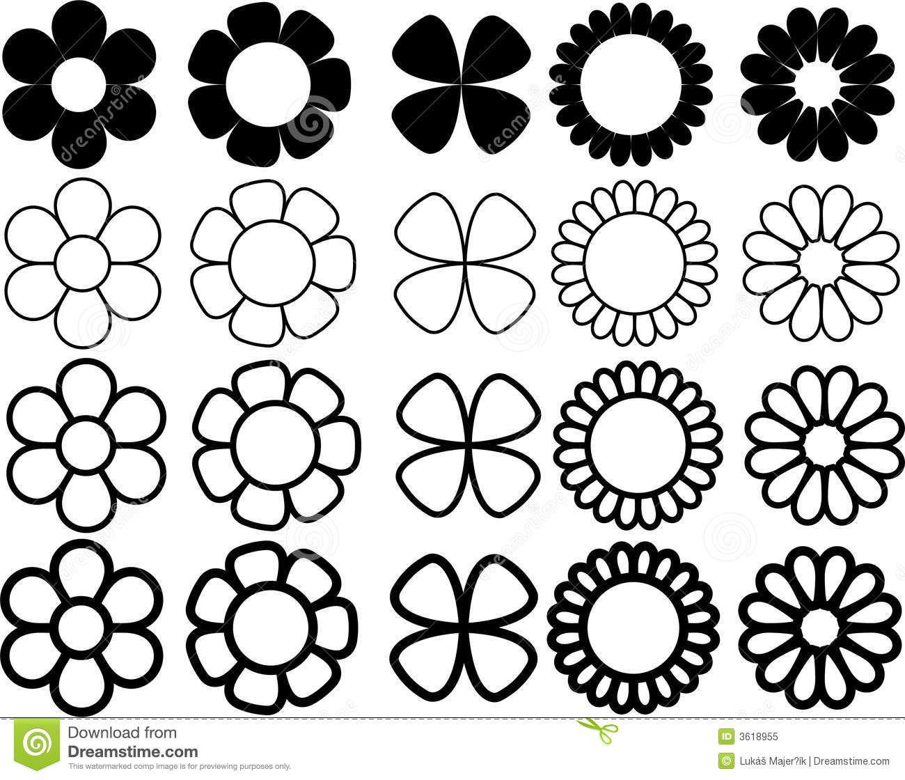 flores simples en blanco y negro - Buscar con Google | Dibujos ...