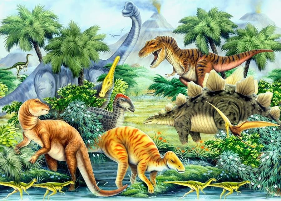 Dino Valley Landscape Mural Wallpaper Dinosaur pictures