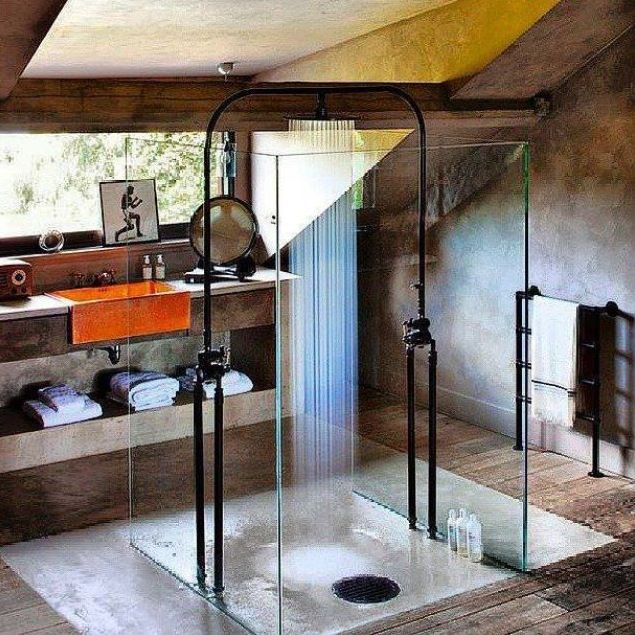 not all shower room schemes have to be hyper modern this rustic shower room - Modern Rustic Shower