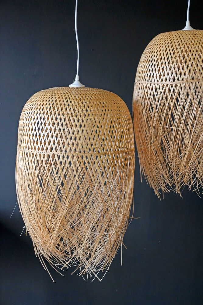 Hand Woven Bamboo Basket Lampshade Lighting Bamboo Lamp