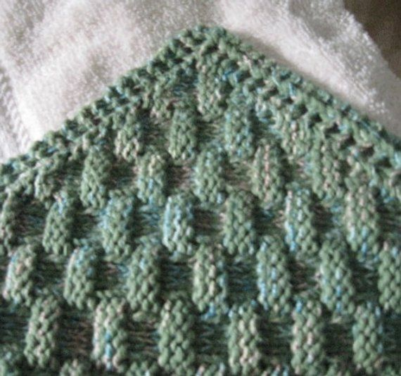 Knit Washcloth Pattern..Basket Weave On Diagonal With