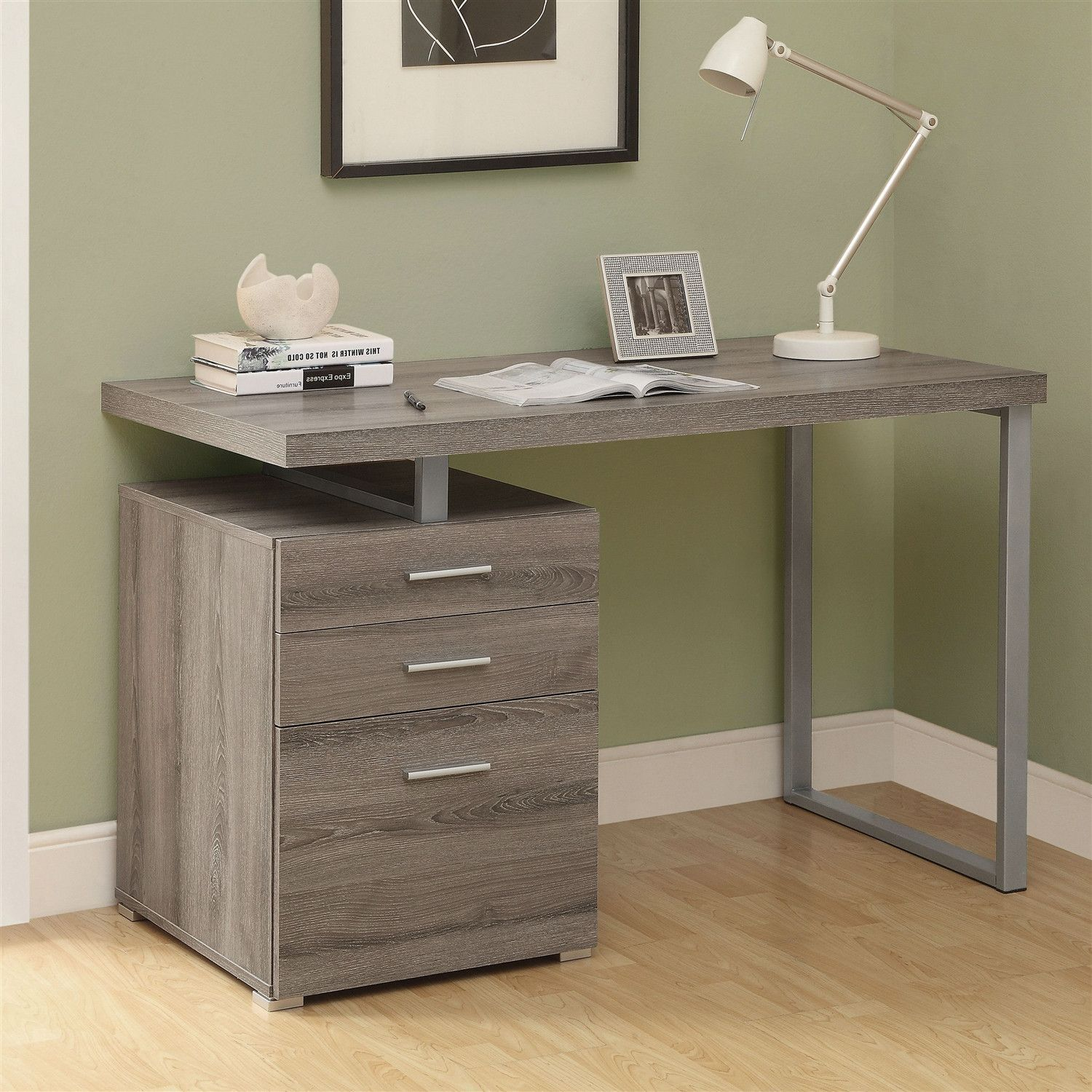 Modern Le Ft Or Right Facing Home Office Computer Desk In Dark Taupe Hearts