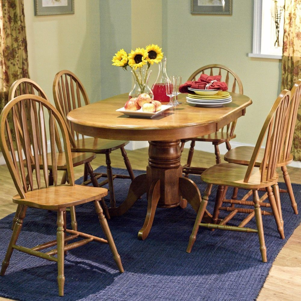 Oval Dining Set 7 Piece Round Wood Table Chairs Kitchen Counter Eating Desk New Farmhouse Dining Set Solid Wood Dining Set Oak Dining Sets