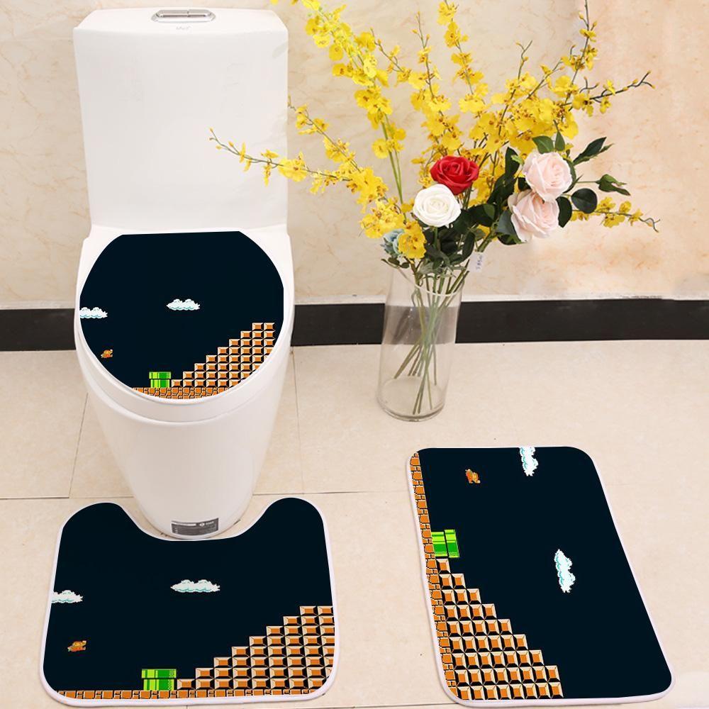 Pink Flower Butterfly Shower Curtain BathMat Toilet Cover Rug Bathroom Decor Set