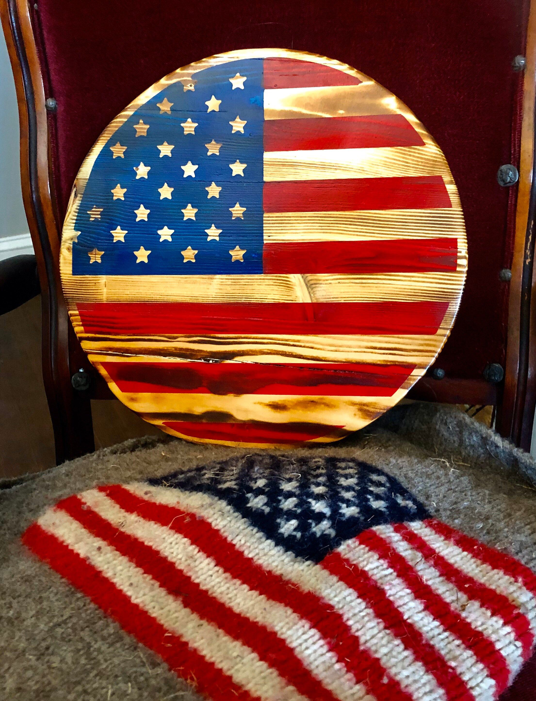 Flag Of Us Round Us Flag Etsy In 2020 American Flag Wood American Flag Wall Hanging American Flag Wall Art
