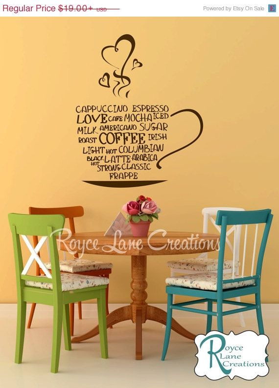 On Sale Coffee Word Art Kitchen Wall Decal By RoyceLaneCreations