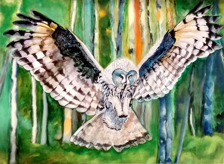 Art print - wall art print - Watercolor prints - living room prints - owl decor…