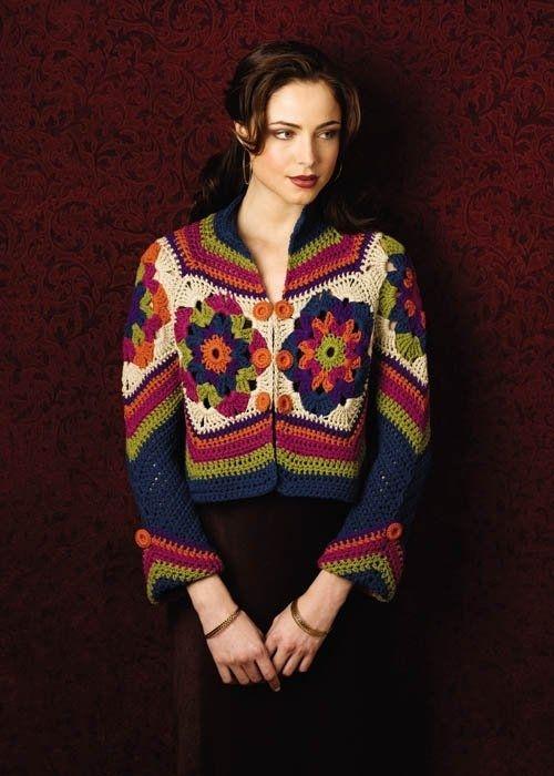 Stupendo modello di giacca all uncinetto con un bel abbinamento di colori  contrastanti tra loro. Non c è la traduzione delle spiegazioni ma si può  seguire a5c3705474f8