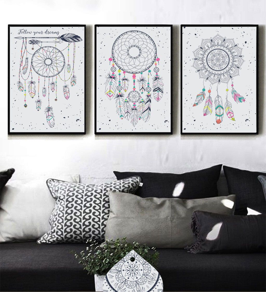 Three set of dream catcher prints dreamcatcher wall art feather