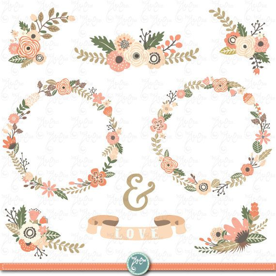 Clipart Flowers Wedding Invitation Clipart Flowers: Vintage Floral Backgrounds