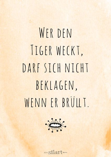 Wer Den Tiger Weckt Lettering Card Quote Art Word Art