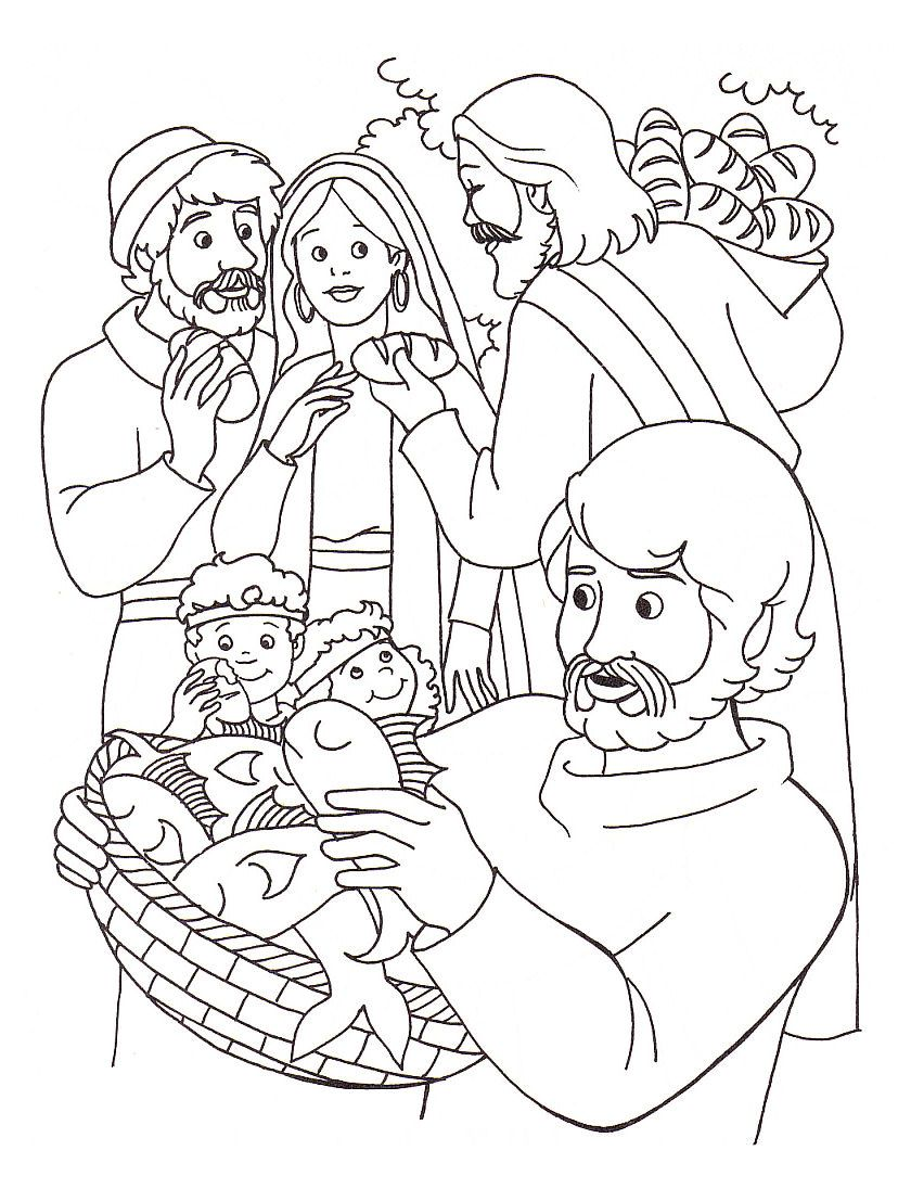 Coloring page of Jesus\' feeding of the five thousand | Coloring ...