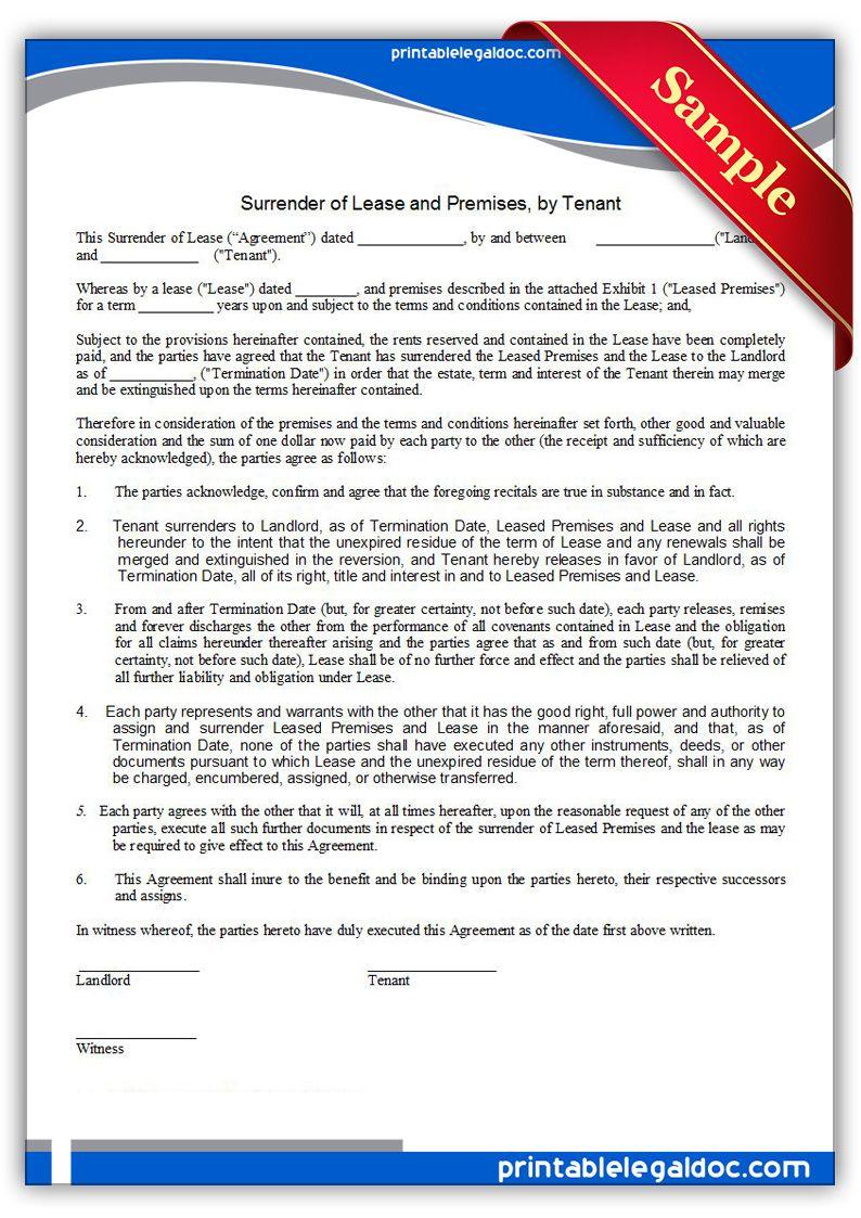 free printable surrender of lease premises by tenant legal forms legal forms pinterest. Black Bedroom Furniture Sets. Home Design Ideas