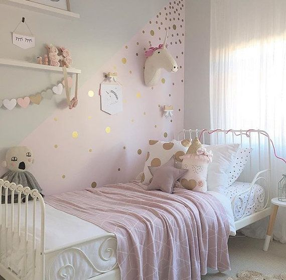 Gold polka dot decals spot decal home decor vinyl wall for Polka dot bedroom ideas
