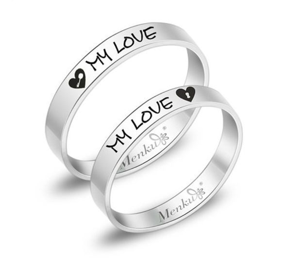 2 RingsFree Engraving titanium promise ringsWedding Bands Couple