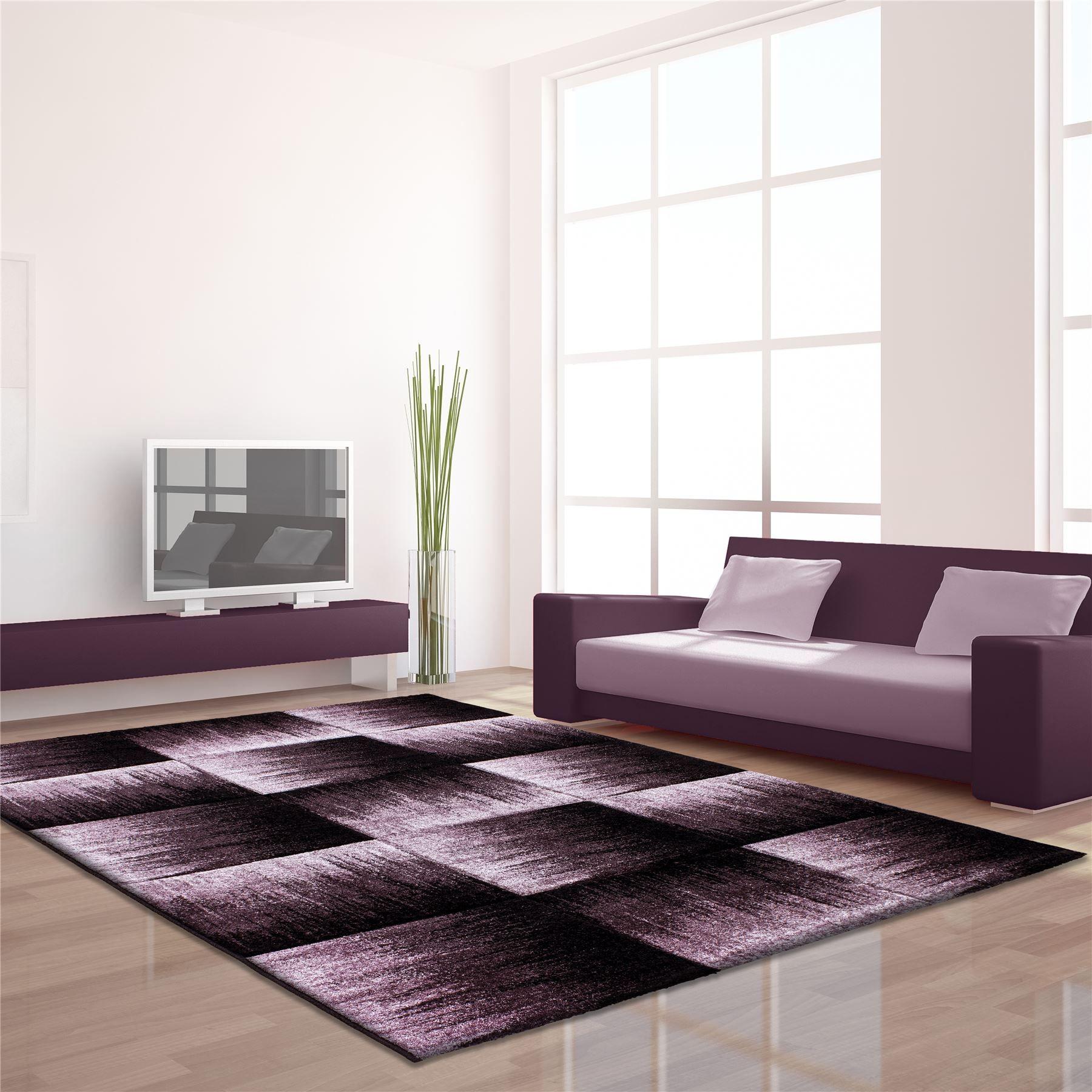 Modern Contemporary Black Grey Brown Purple Grey Swirls Squares Quality Rug Purple Area Rugs Carpet Design Quality Rugs