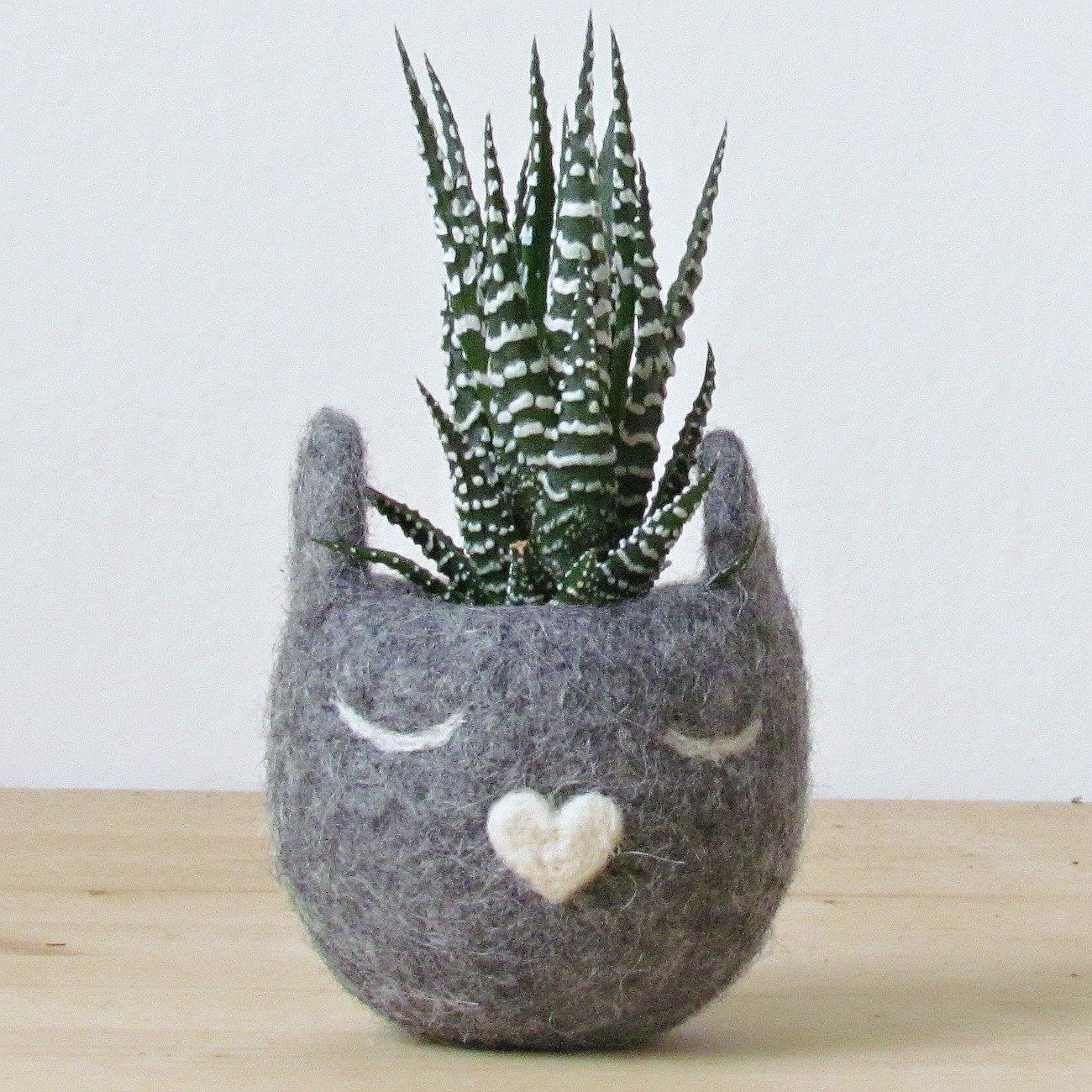 Grey Cat planter gift Cat lover gift for coworkers, Dorm