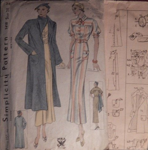 Simplicity pattern 1418 Dress pattern 1930s by LevonasVintage on Etsy https://www.etsy.com/listing/191571051/simplicity-pattern-1418-dress-pattern