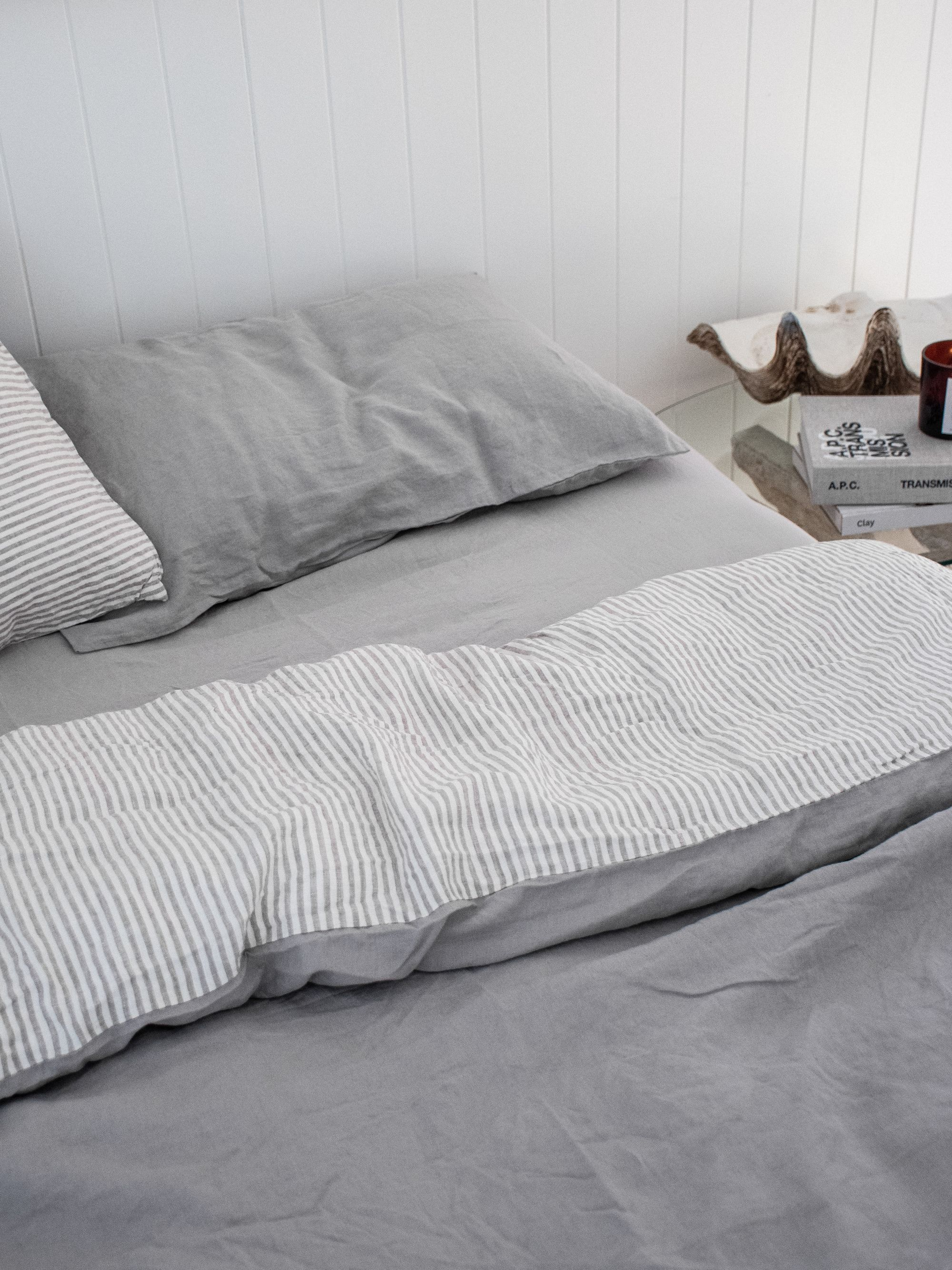 French Linen Bedding In Soft Grey Soft Grey Stripe Beautiful Home Decor Aesthetic Design Bedroom Styling Pure Linen Bedding Dreamy Bedrooms Room Planning