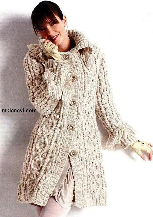 casaco de malha com tranças - Chunky cream Aran knitted coat ...