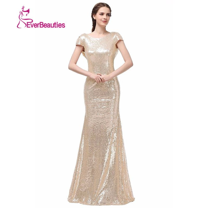 Champagne Gold Sequin Bridesmaid Dresses 2018 Hot Long Wedding Party ...