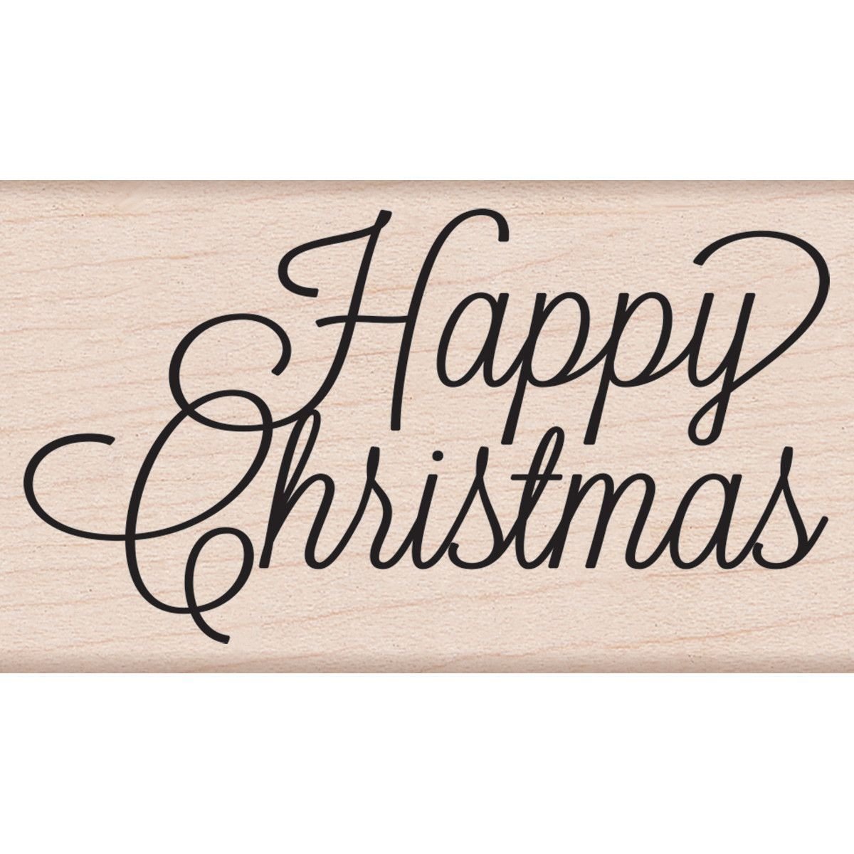"""Hero Arts Mounted Rubber Stamp 3.75""""x1.25"""" - Happy Christmas Script"""