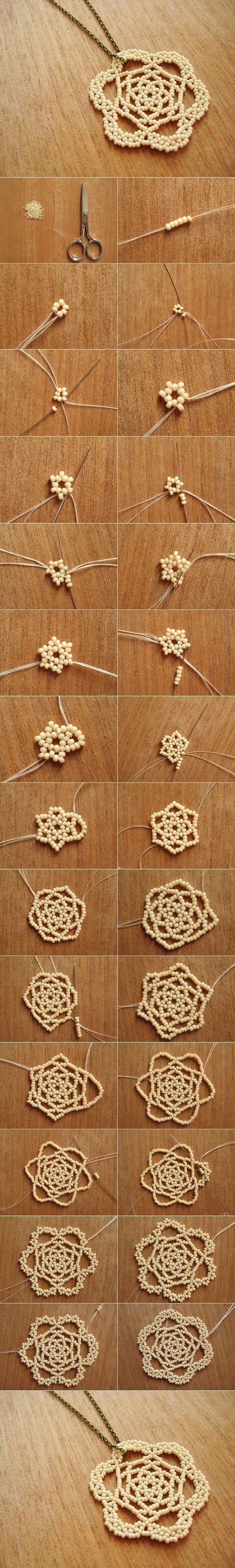 DIY Beaded Rose Necklace Pendant - http://manmadediy.me/diy-beaded-rose-necklace-pendant/