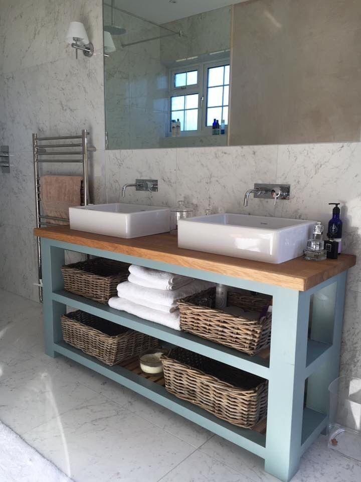Solid Oak Vanity Unit Washstand Bathroom Furniture Bespoke Rustic