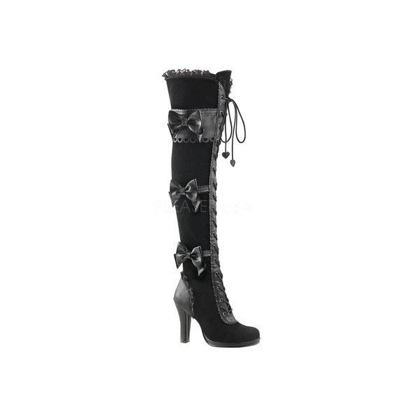 Women's Demonia Glam 300 Goth Lolita Over-the-Knee Boot (310 BRL) ❤ liked on Polyvore featuring shoes, boots, casual, casual shoes, tall lace up boots, over knee boots, over the knee boots, goth boots and velvet thigh high boots