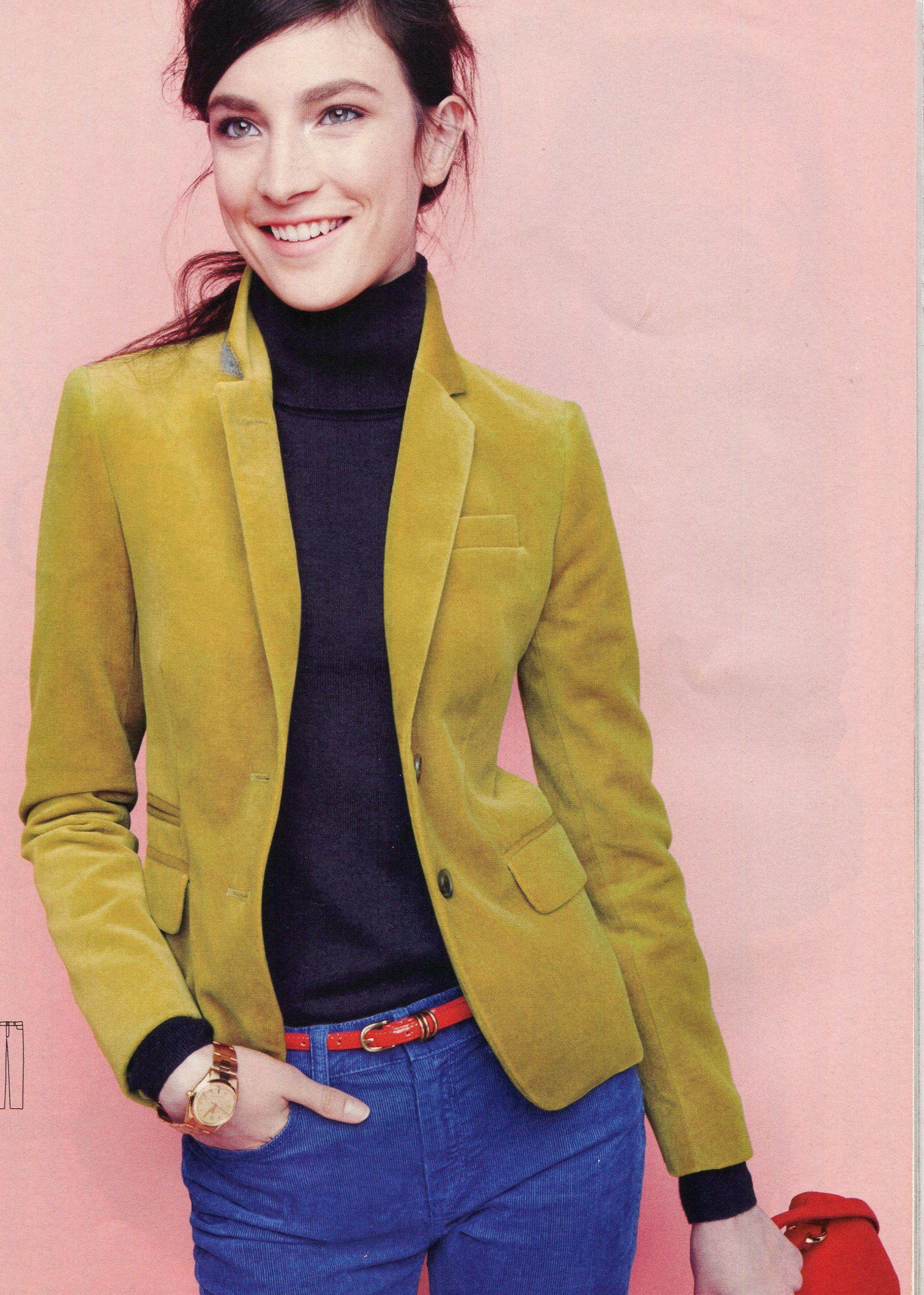 ba98dc9414bb J.Crew - Velvet boyfriend jacket, turtleneck sweater, cords. | Fall ...