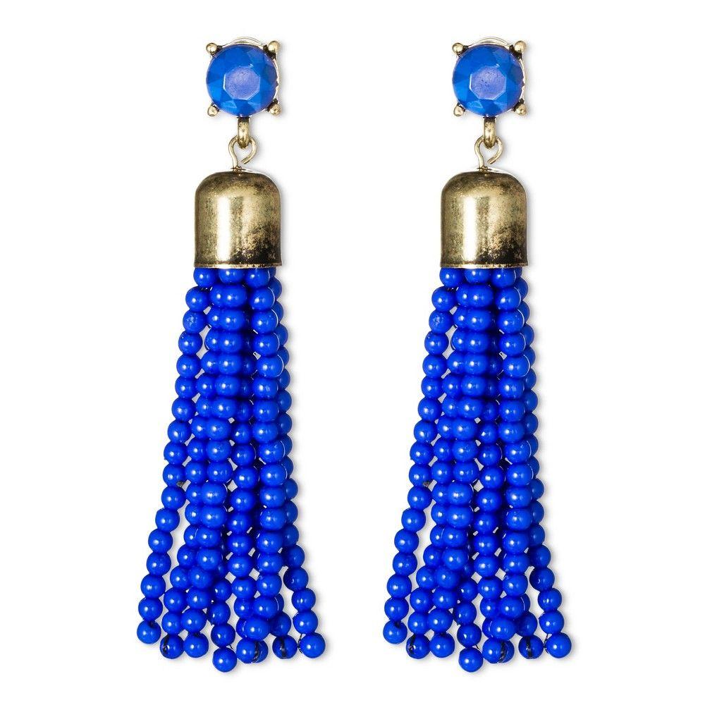 Sugarfix by BaubleBar Beaded Tassel Earrings - Cobalt (Blue