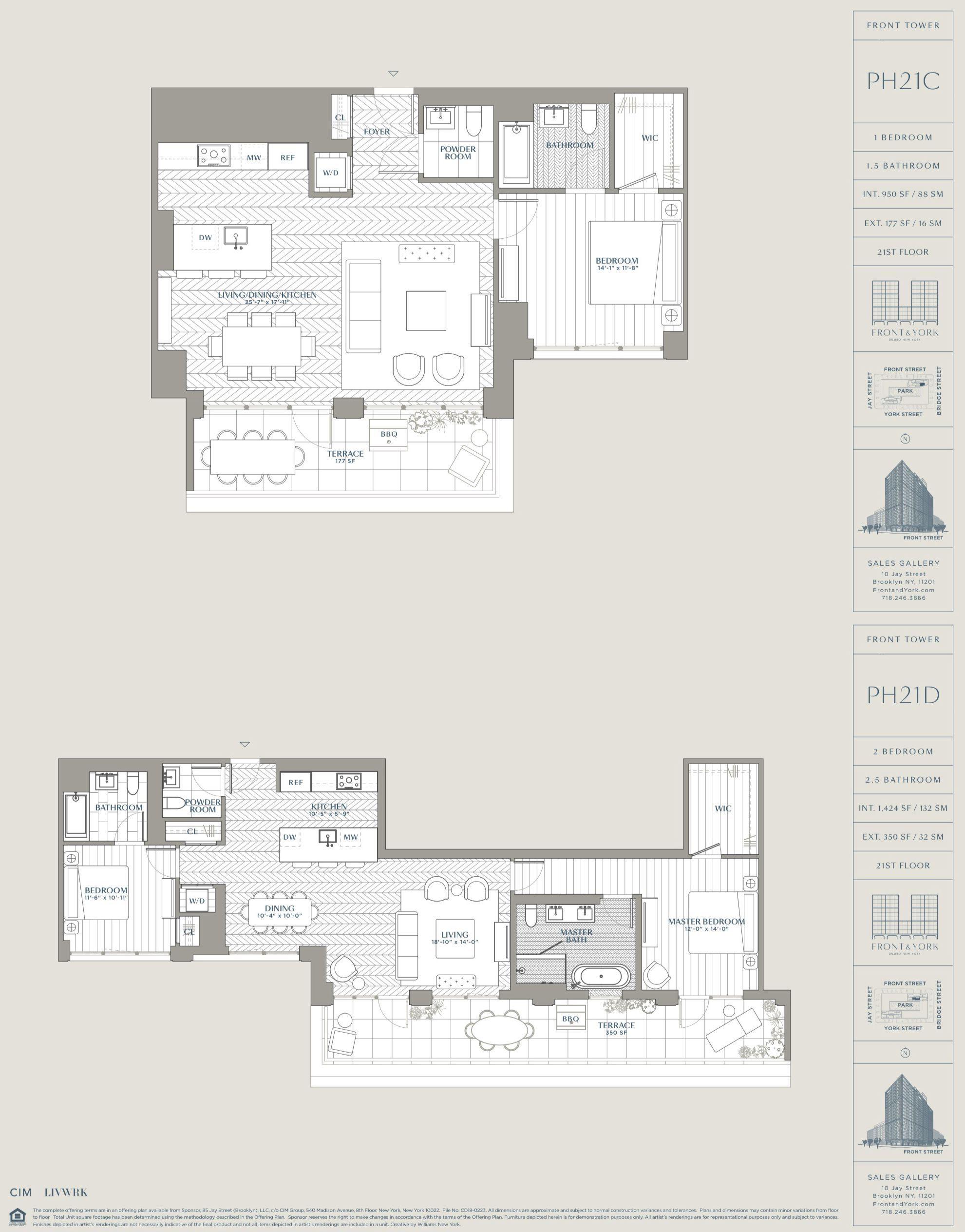 Front York Dumbo New York 85 Jay St Ph21 C D In 2020 Penthouse Apartment Floor Plan Floor Plans New Condo