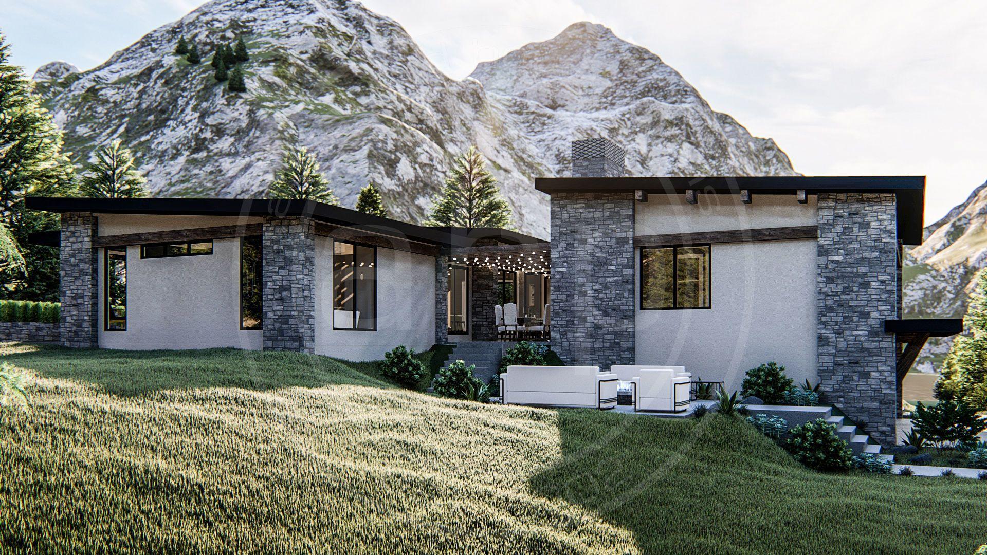 Long Beach 1 Story Modern House Plan in 2020 | Courtyard house ...