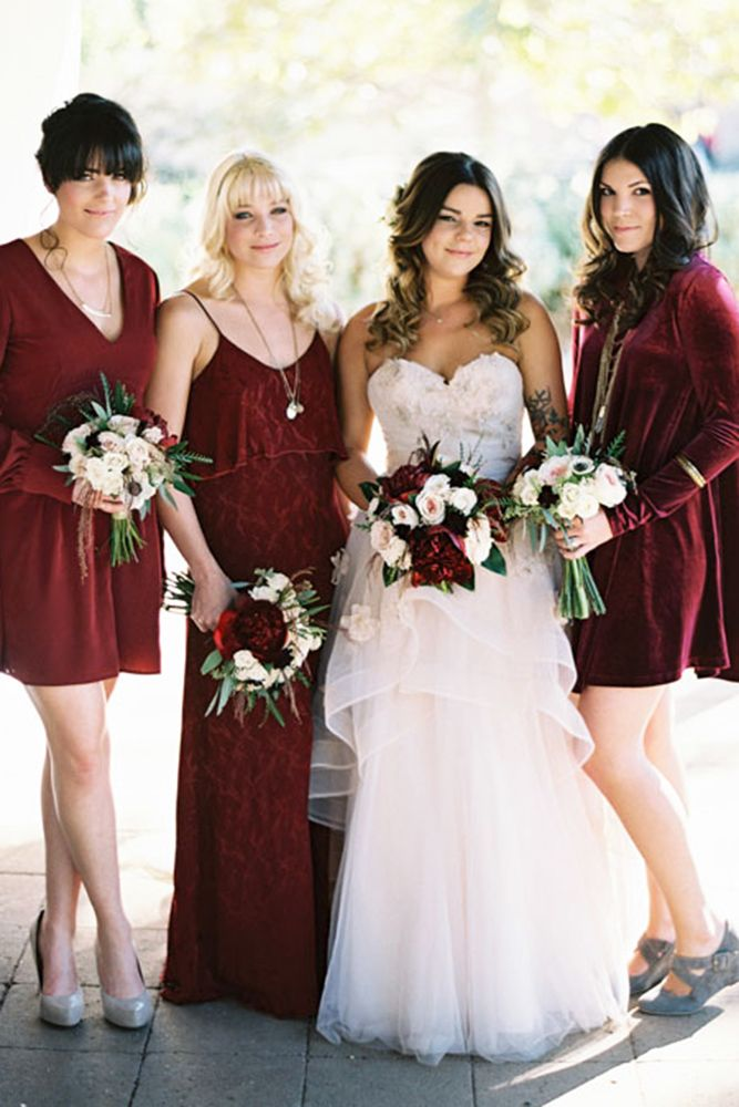 18 Burgundy Bridesmaid Dresses For Your Girls ❤ burgundy bridesmaid dresses short with long sleeves troy grover photographers ❤ Full gallery: https://weddingdressesguide.com/burgundy-bridesmaid-dresses/ #bride #wedding #bridesmaiddress